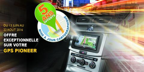 Pioneer France promo 5 ans de mise à jour GPS